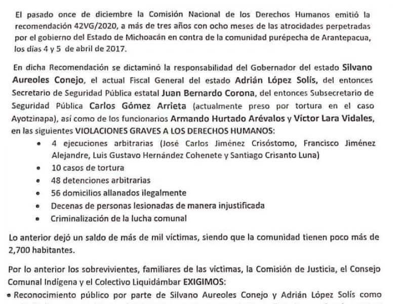 Exigen reconocimiento público de los hechos ocurridos en Arantepacua
