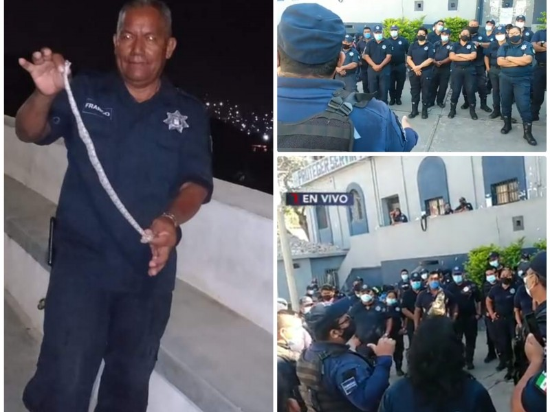 Fallece policía por Covid-19, elementos protestan por falta de garantías