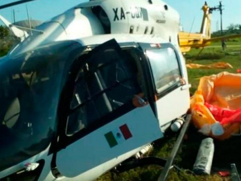Cae helicóptero en terminal de Dos Bocas; hay 5 lesionados
