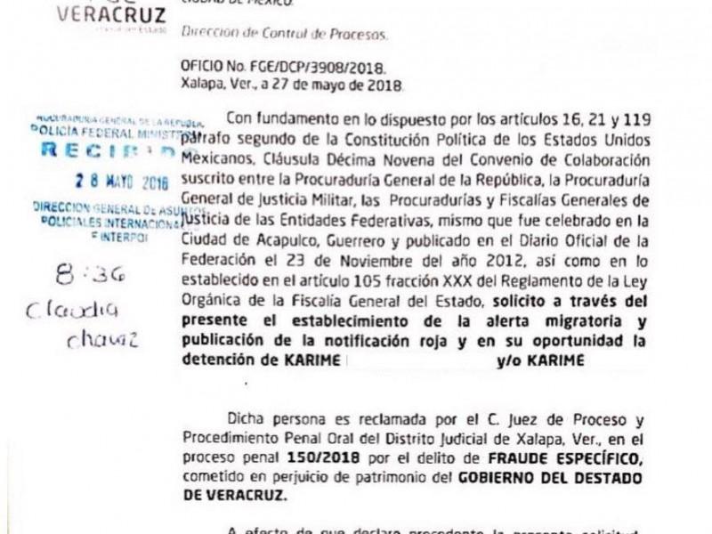 FGE pide a PGR ficha roja para Karime