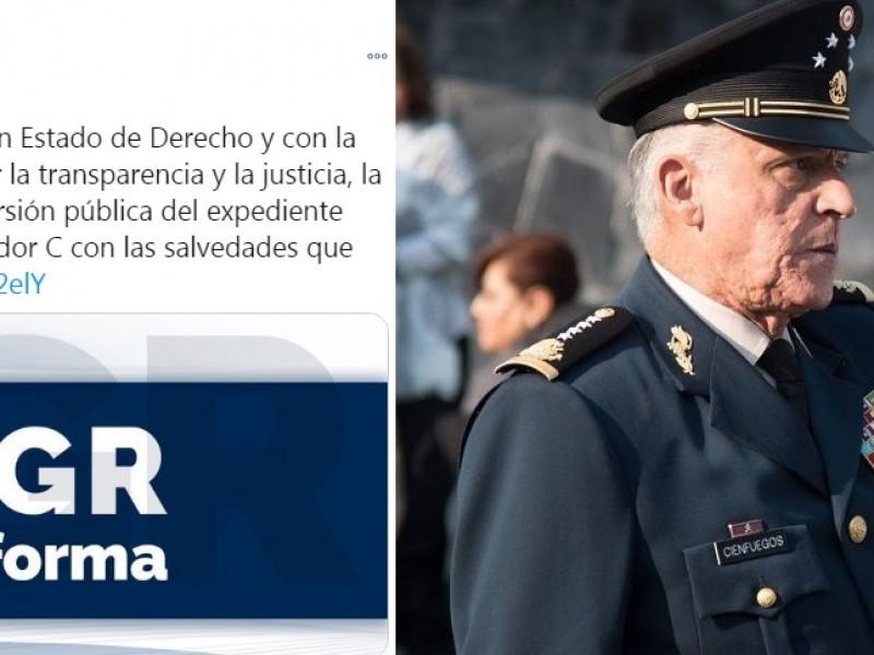 FGR publica expediente con el que exoneró a Cienfuegos