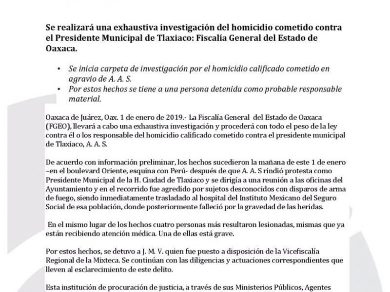 Fiscalía realizará exhaustiva investigación del homicidio en Tlaxiaco