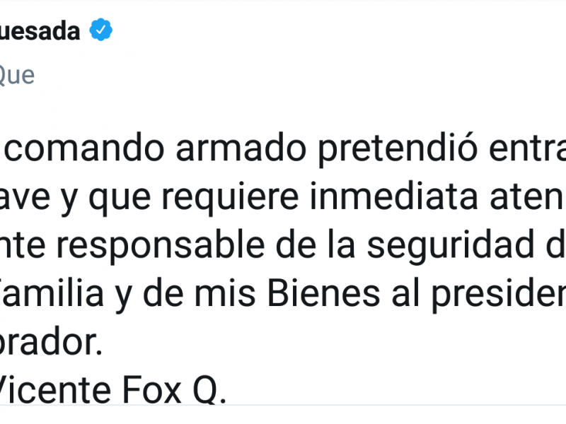 Fox denuncia intento de ataque de comando armado
