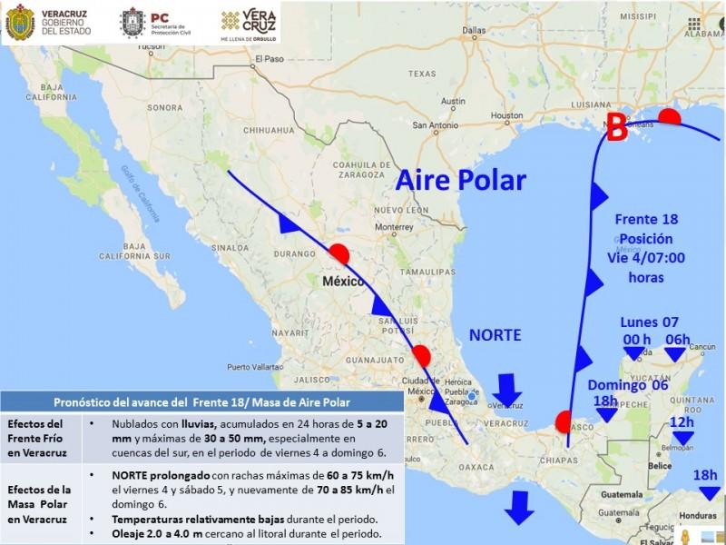 Frente Frío 18 seguirá afectando Veracruz este fin de semana