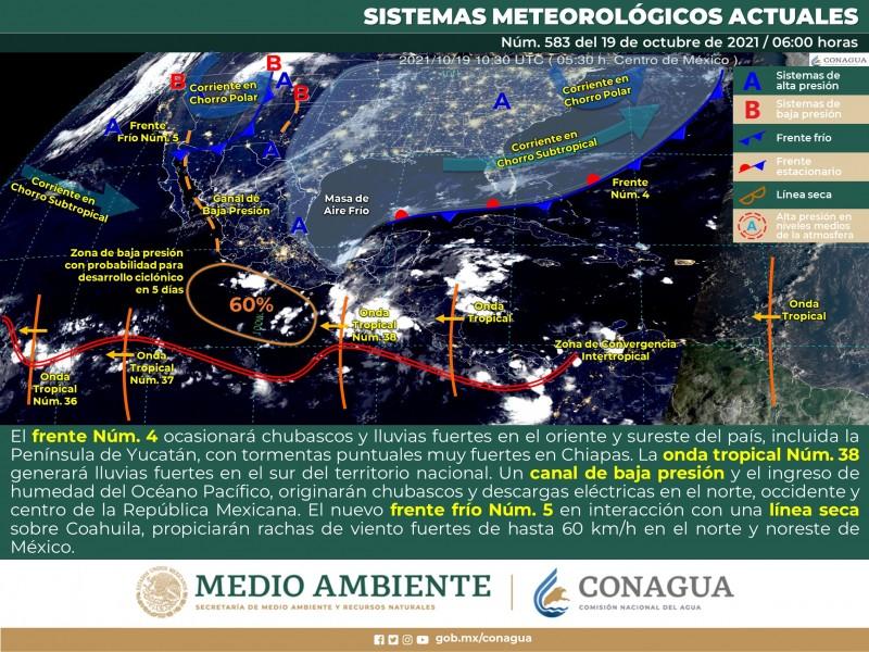 Frente frío  #5 ingresa al noroeste de México