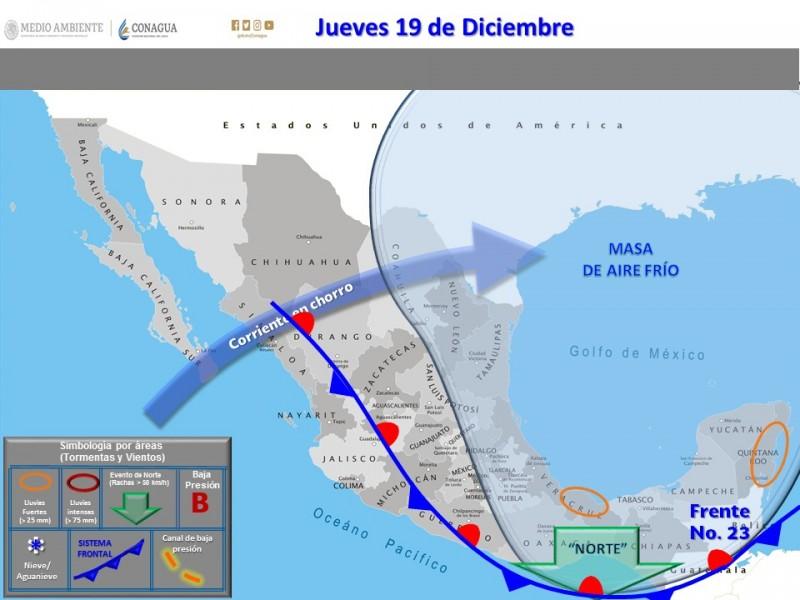 Frente frío provoca afectaciones en Chiapas