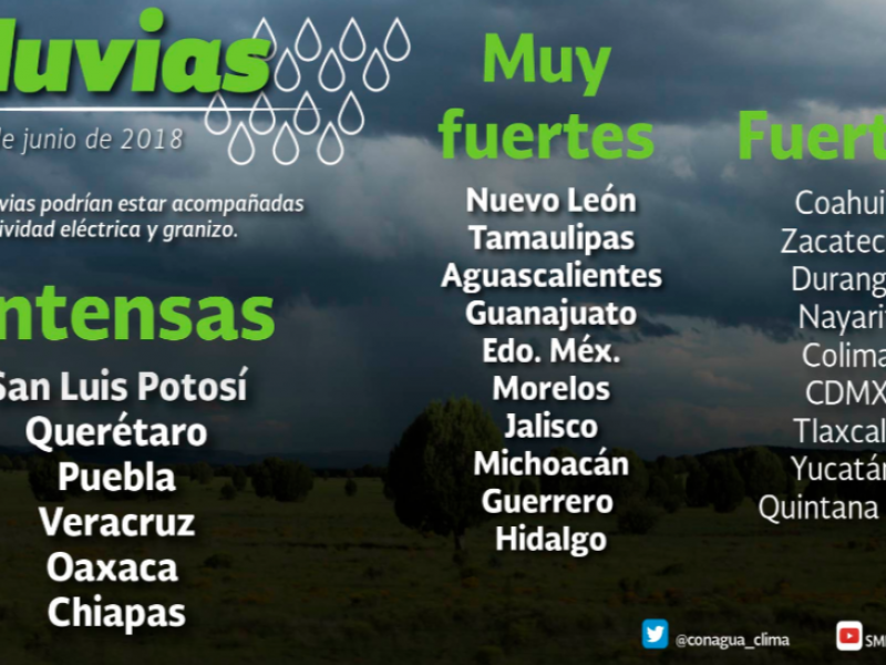 Fuertes lluvias para Zacatecas en próximos días