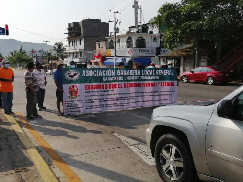Ganaderos bloquean carretera en Zihuatanejo, exigen erradicar arete Siniiga