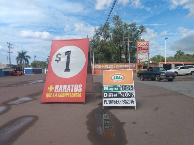 Gasolina en Etchojoa se vende hasta en 16.65 pesos