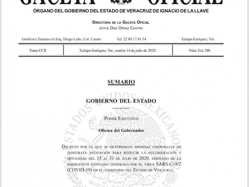 Gobernador decreta restricciones de movilidad en municipios de Veracruz