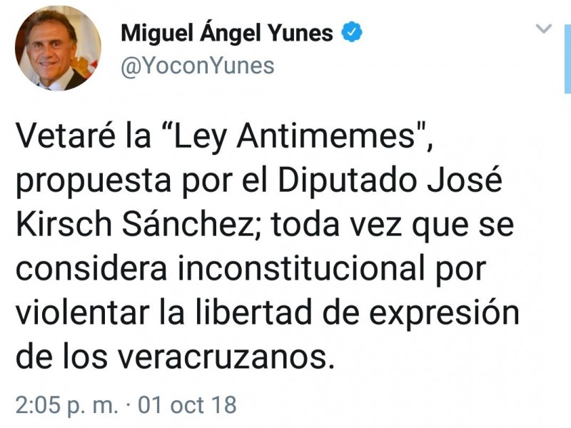 Gobernador Yunes vetará Ley Antimemes de Veracruz