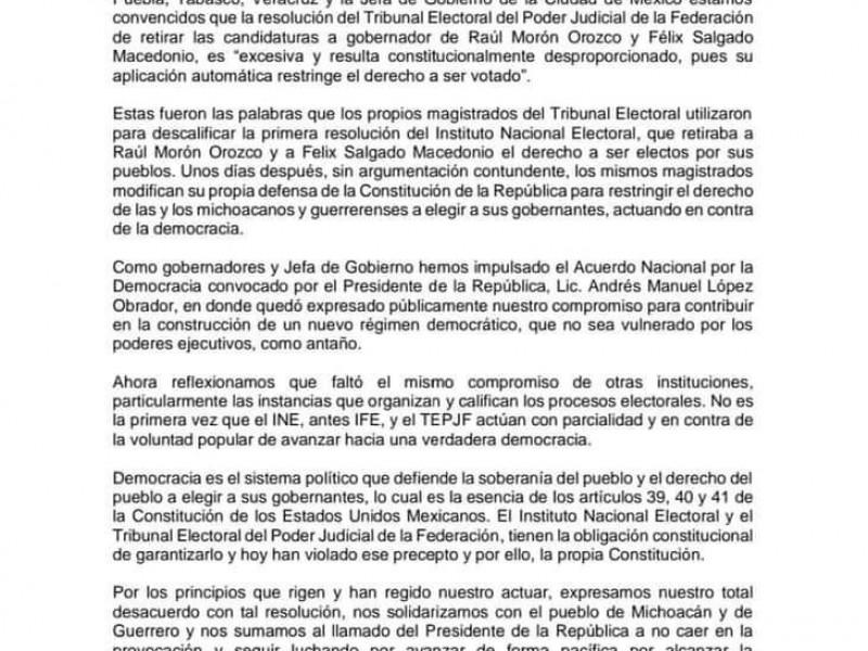 Gobernadores firman pacto a favor de Macedonio y Morón
