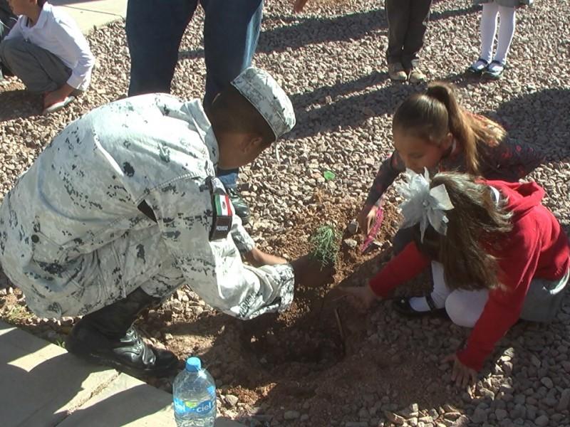 Guardia Nacional ayuda a reforestacion en escuela...