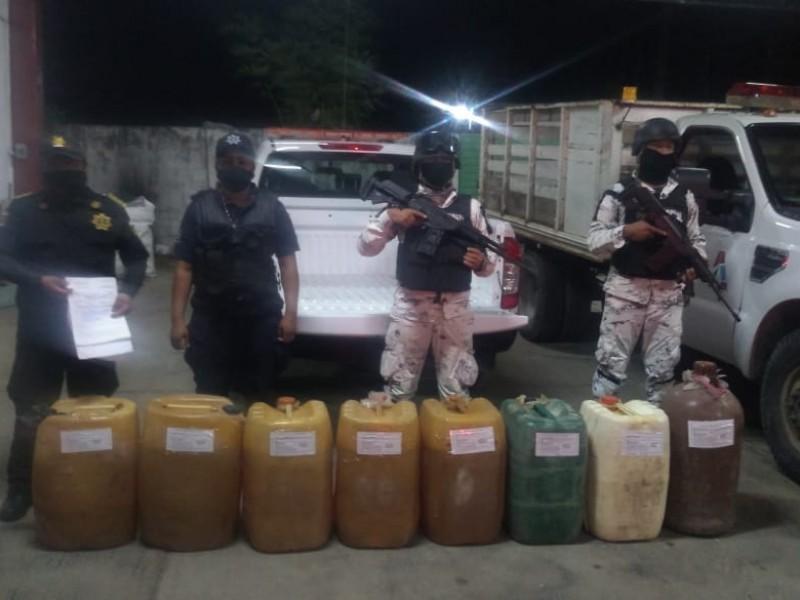 Guardia Nacional detiene a sujeto con 400 litros de huachicol