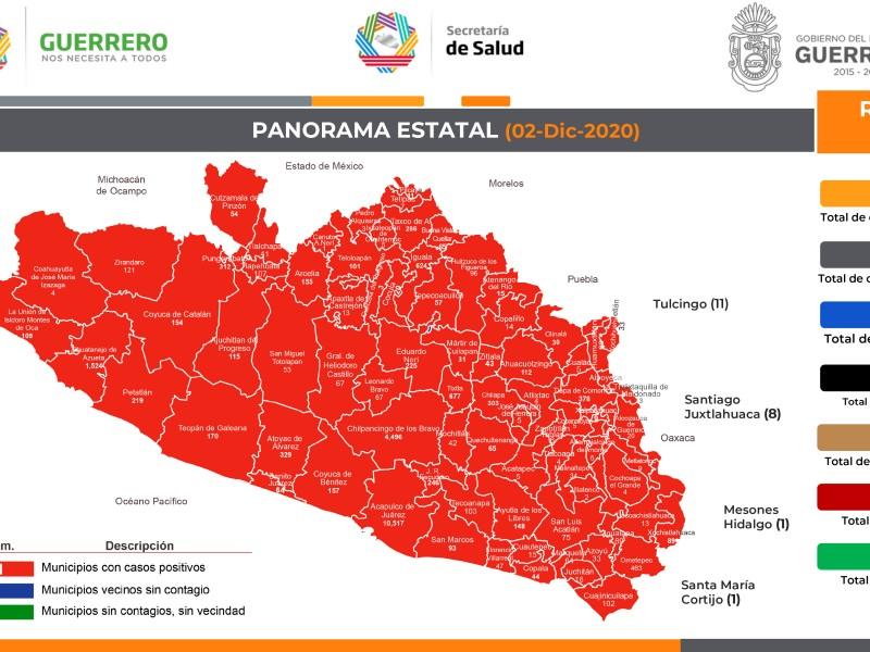 Guerrero acumula 23,898 contagios COVID-19 y 2,482 defunciones