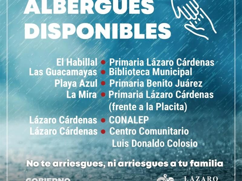 Habilitan seis albergues temporales en Lázaro Cárdenas