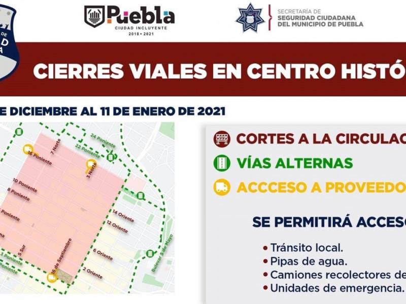 Habrá cierres viales en Centro Histórico de Puebla por contagios