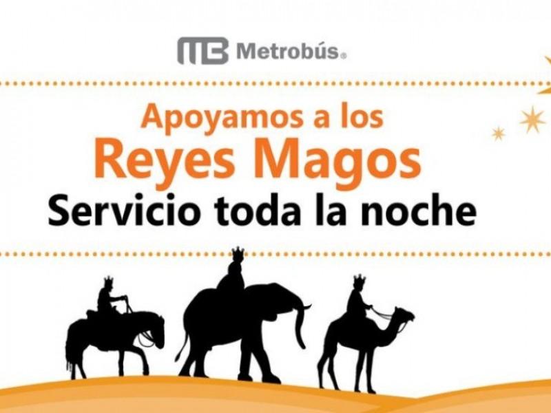 Habrá servicio nocturno de Metrobús para Reyes Magos