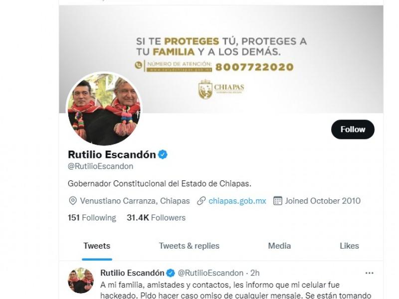 Hackean equipo celular del gobernador de Chiapas