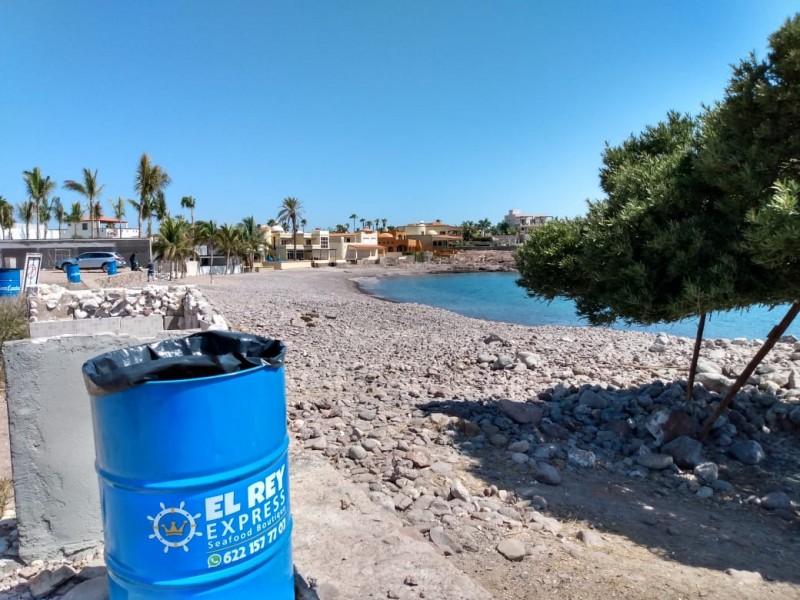 Hasta 200 kilos de basura en playas, colocan contenedores