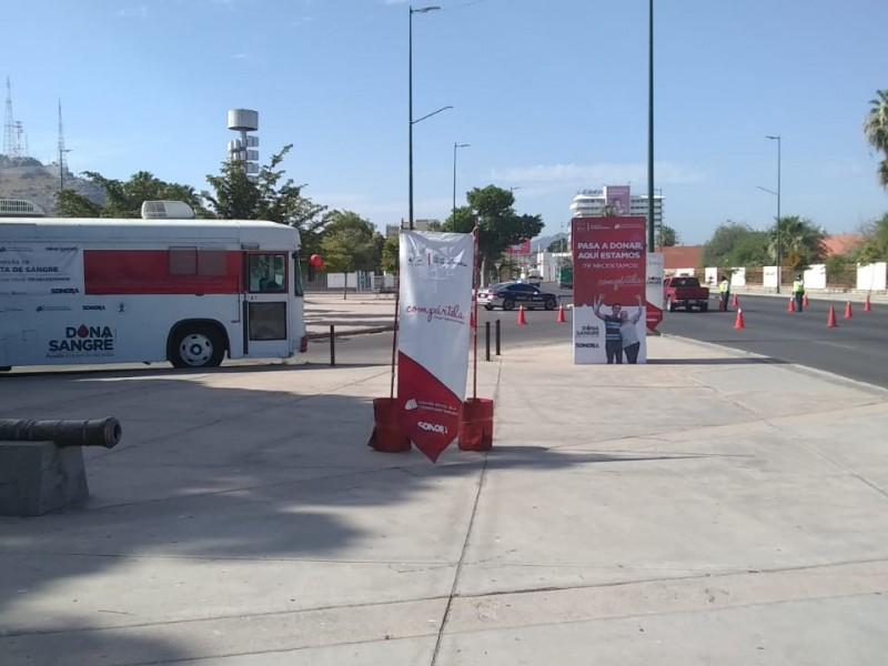 Hay una unidad móvil para promover la donación de sangre