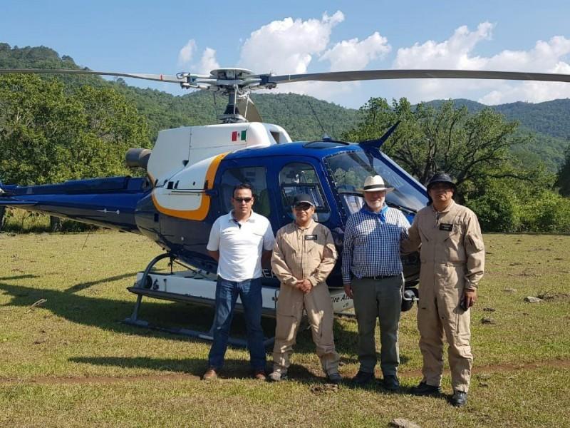 Helicóptero de Aguascalientes se suma a combate incendio