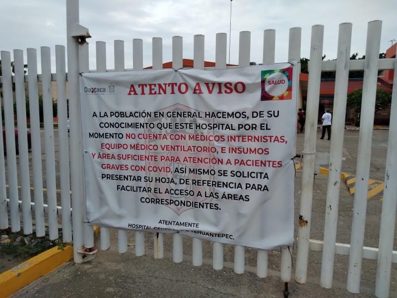 Hospital de Tehuantepec en crisis; carece de insumos y médicos