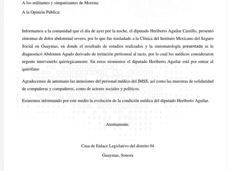 Hospitalizado Diputado Heriberto Aguilar