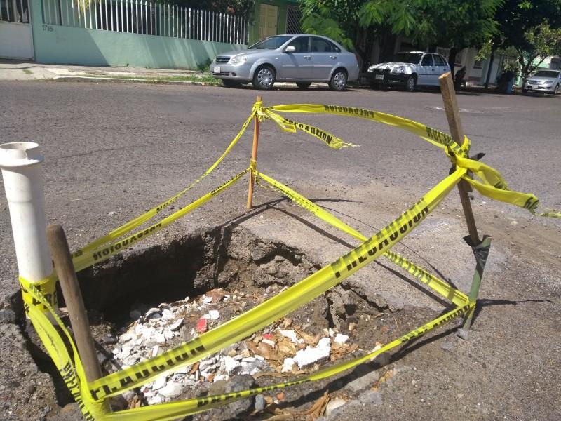 Hundimiento en avenida Jiménez de Veracruz