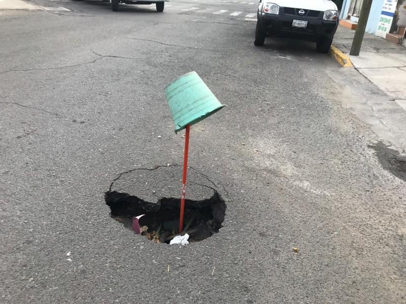 Hundimiento en la calle J.M Palacios en Veracruz