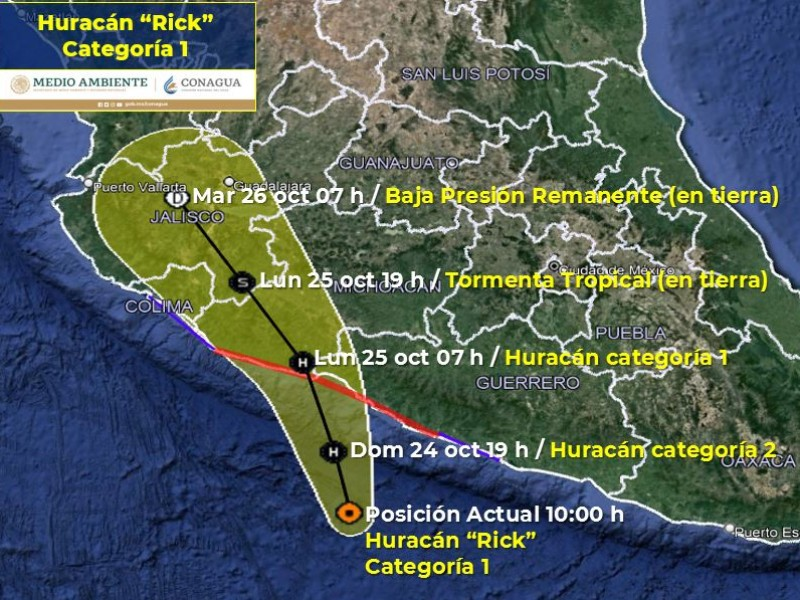 Huracán Rick podría evolucionar a categoría II este domingo