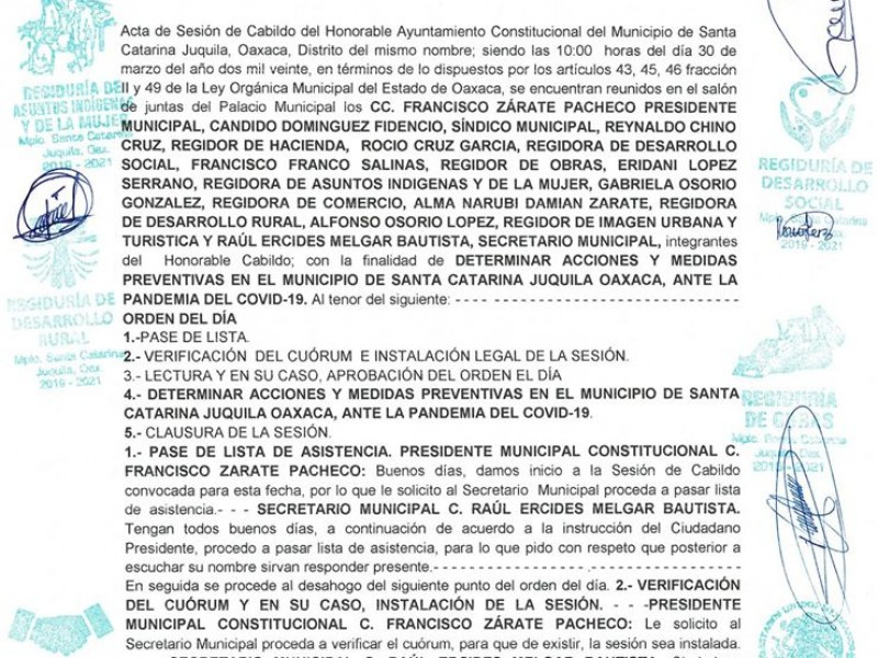 Implementan filtros sanitarios en Santa Catarina Juquila por Covid-19