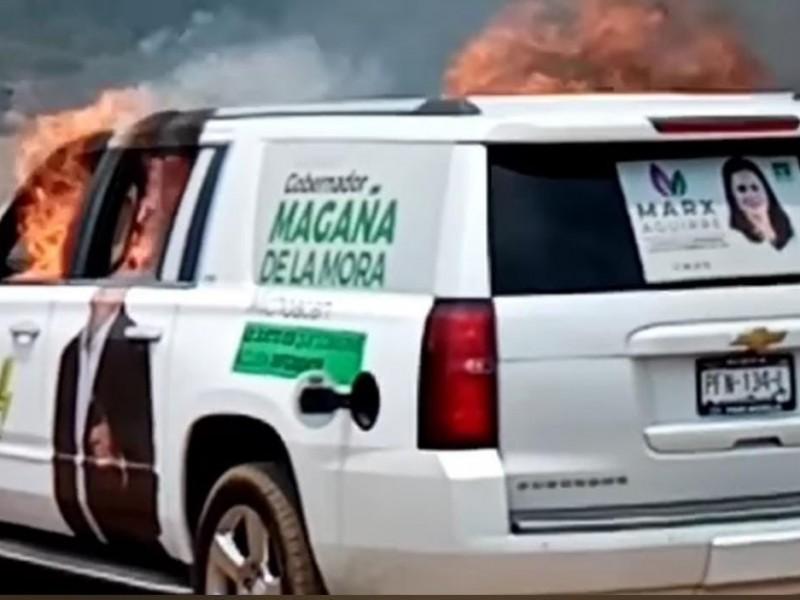 Incendian camioneta de Juan Antonio Magaña en Nahuatzen