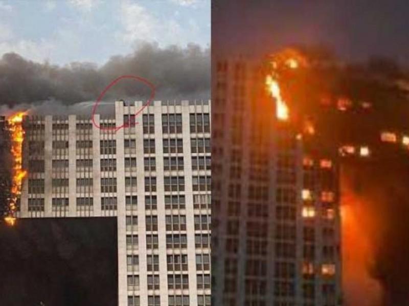 Incendio consume rascacielos residencial en Dalian, China