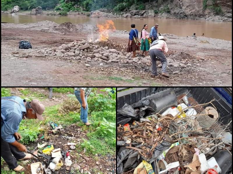 Indígenas de Del Nayar realizan #BasuraChallengue para limpiar Río