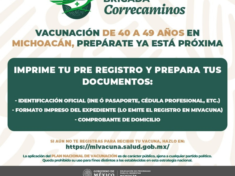 Inicia registro de vacunación para población de 40-49 años