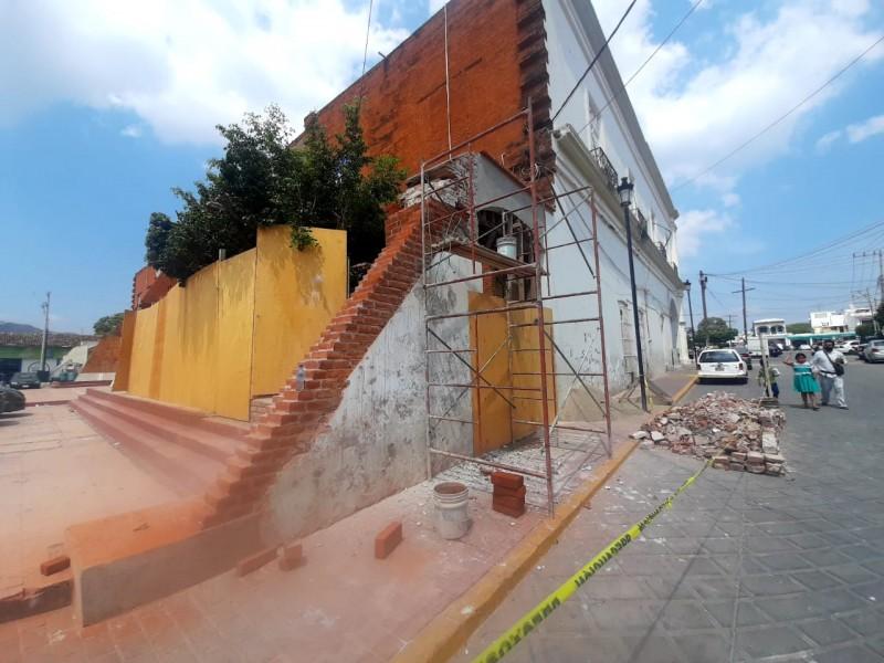 Inicia restauración de estructura en palacio municipal de Tehuantepec