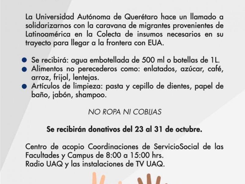 Inicia UAQ colecta de víveres para caravana migrante