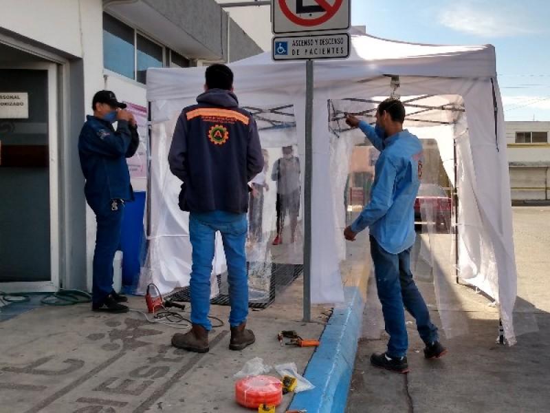 Instalan túnel sanitizante en Centro de Salud Juan Escutia
