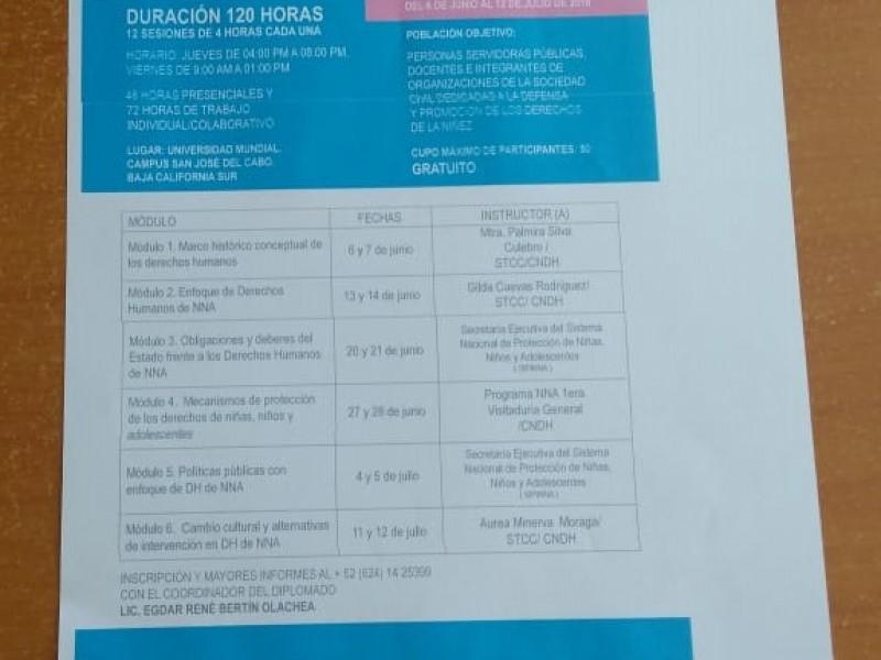 Instructores de CNDH participarán en Diplomado en Municipio