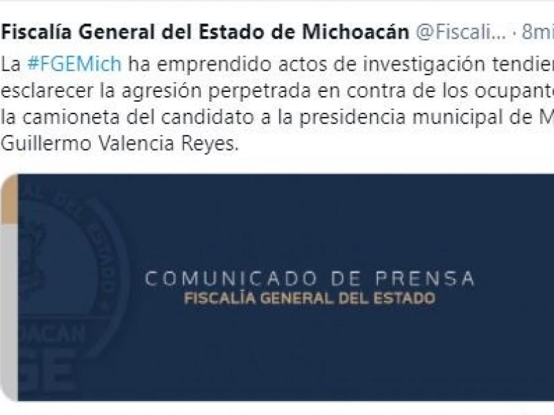 Investiga Fiscalía agresión contra equipo de Guillermo Valencia