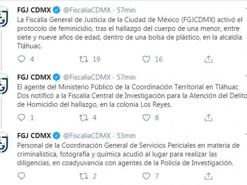 Investigan feminicidio en Tláhuac