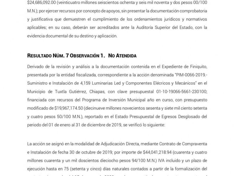 Irregularidades por 18 MDP en compra de luminarias en Tuxtla