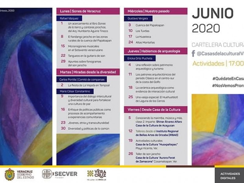 IVEC transmitirá virtualmente actividades culturales durante junio.
