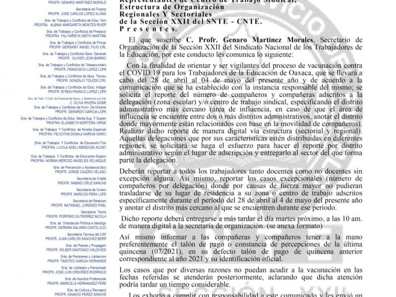 Ixtepec y Juchitán serán sedes para vacunación a profesores