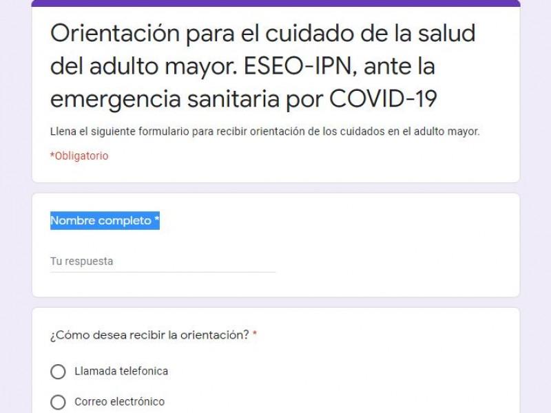 Jóvenes del IPN asesoran a adultos mayores sobre covid-19