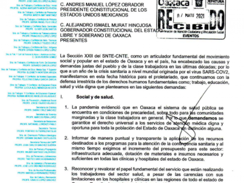 La Sección 22 de la CNTE demanda aumento salarial