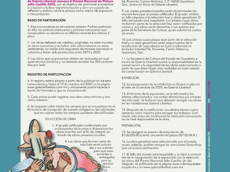 Lanzan Convocatoria Premio Nacional de Pintura Julio Castillo 2020