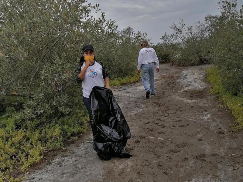 Levantan 1 tonelada de basura de manglar