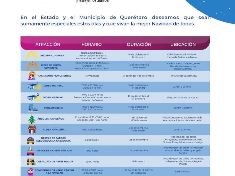 Listas las actividades navideñas del Municipio de Querétaro